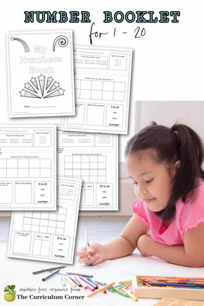 Download this printable number book 1 - 20 pdf to help your children work with the numbers 1 through 20.