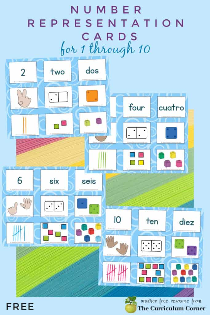 Download these free number representation cards for numbers 1 through 10 to help your students learning to identify numbers.