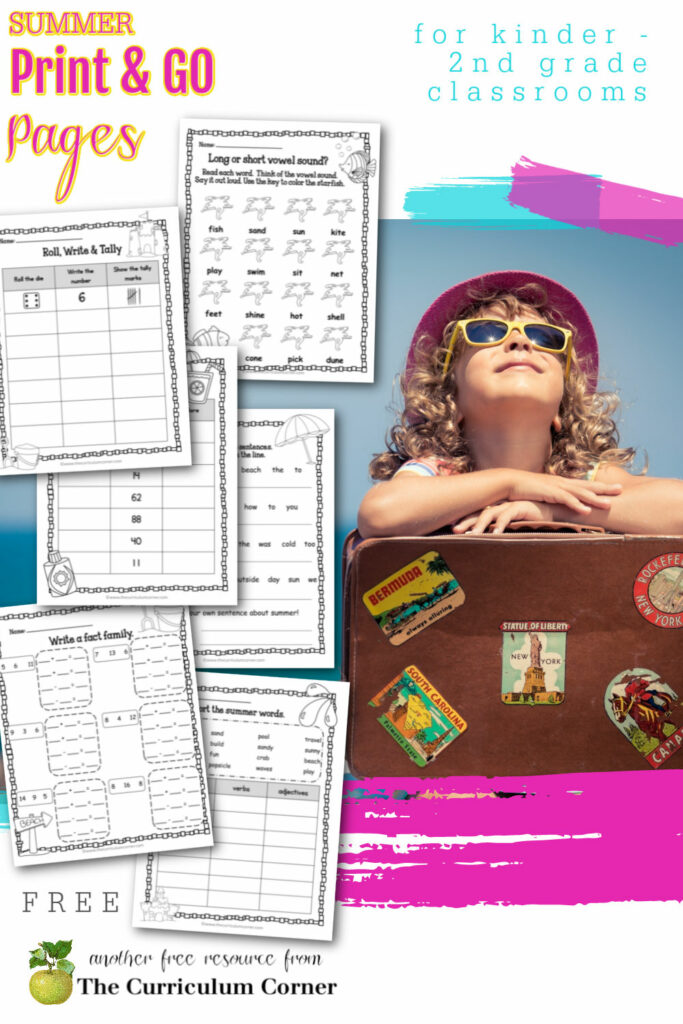 This free collection of math and literacy summer no prep practice pages (summer worksheets) for print & go review is designed for classroom or at home practice.