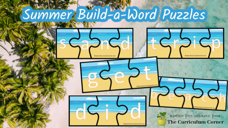 Use these summer word puzzles to create an ocean themed literacy center for your young readers.