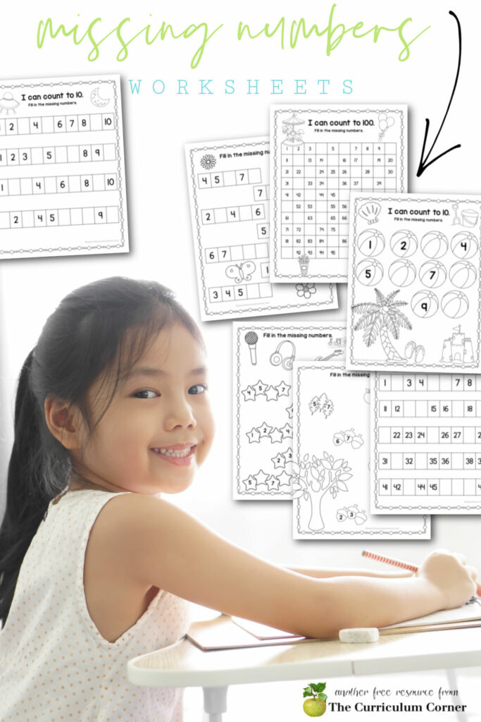 Add this free download of missing numbers worksheets to your counting numbers collection for kindergarten and first grade.
