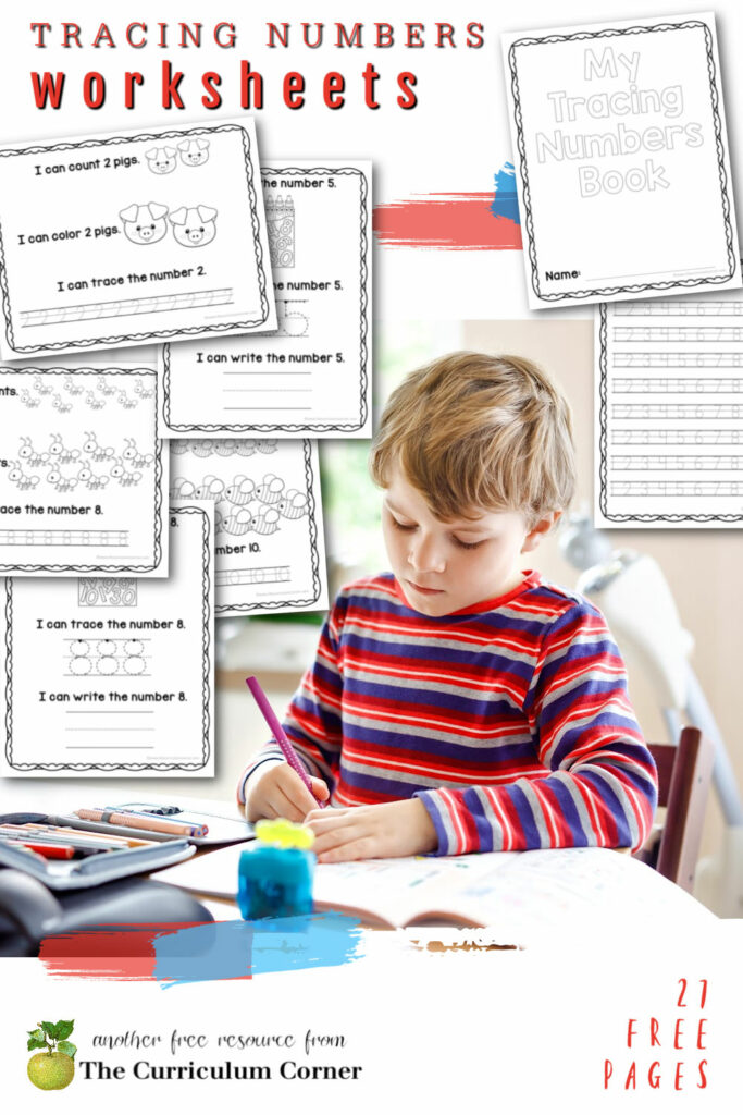 Download this free set of tracing numbers worksheets to help your young learners work on number formation.