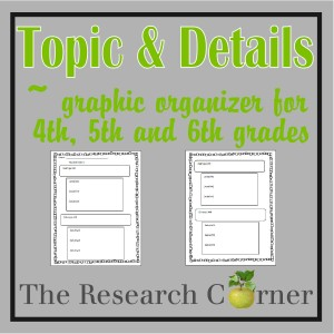 Topic & Details Graphic Organizer for 4th, 5th and 6th grades