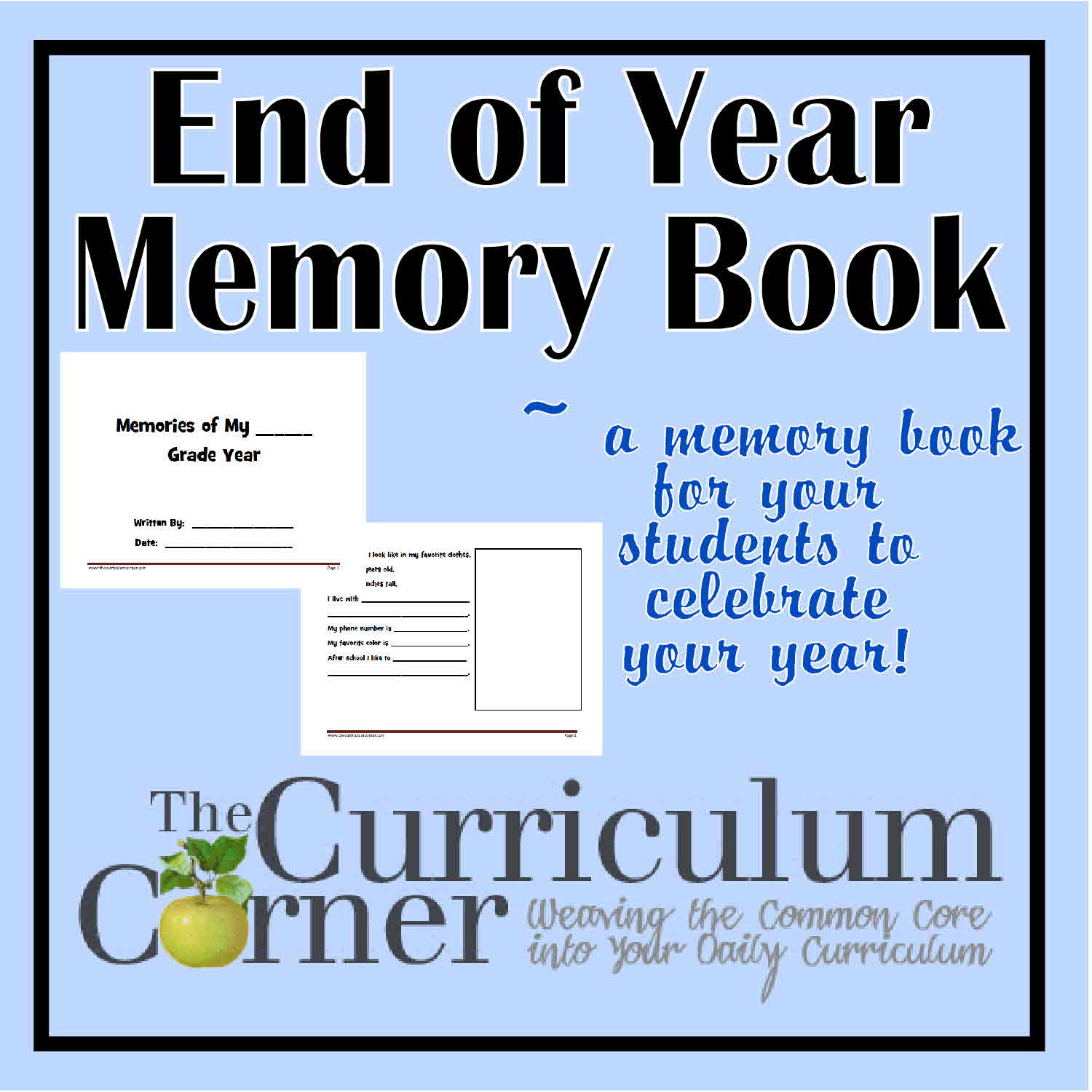 end of year memory book printable memory book for grade memory book 6533