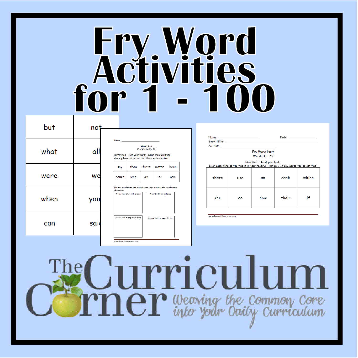 Fry First Hundred Printables (1 - 100) - The Curriculum Corner 123