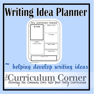 Writing idea planner the curriculum corner 123 - Writing corner ideas ...