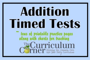 math worksheet : addition timed test pages  the curriculum corner 123 : Timed Math Facts Worksheets 2nd Grade