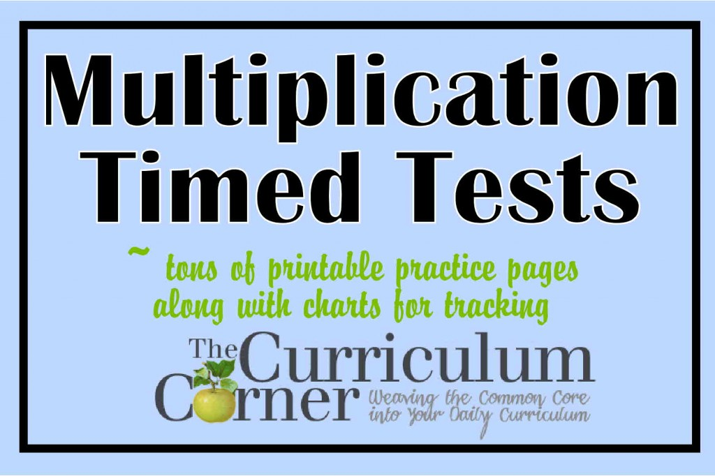 Multiplication Timed Tests The Curriculum Corner 123 – Multiplication Worksheets 100 Problems