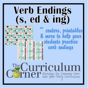 Verb Endings (-s, -ed, -ing) - The Curriculum Corner 123