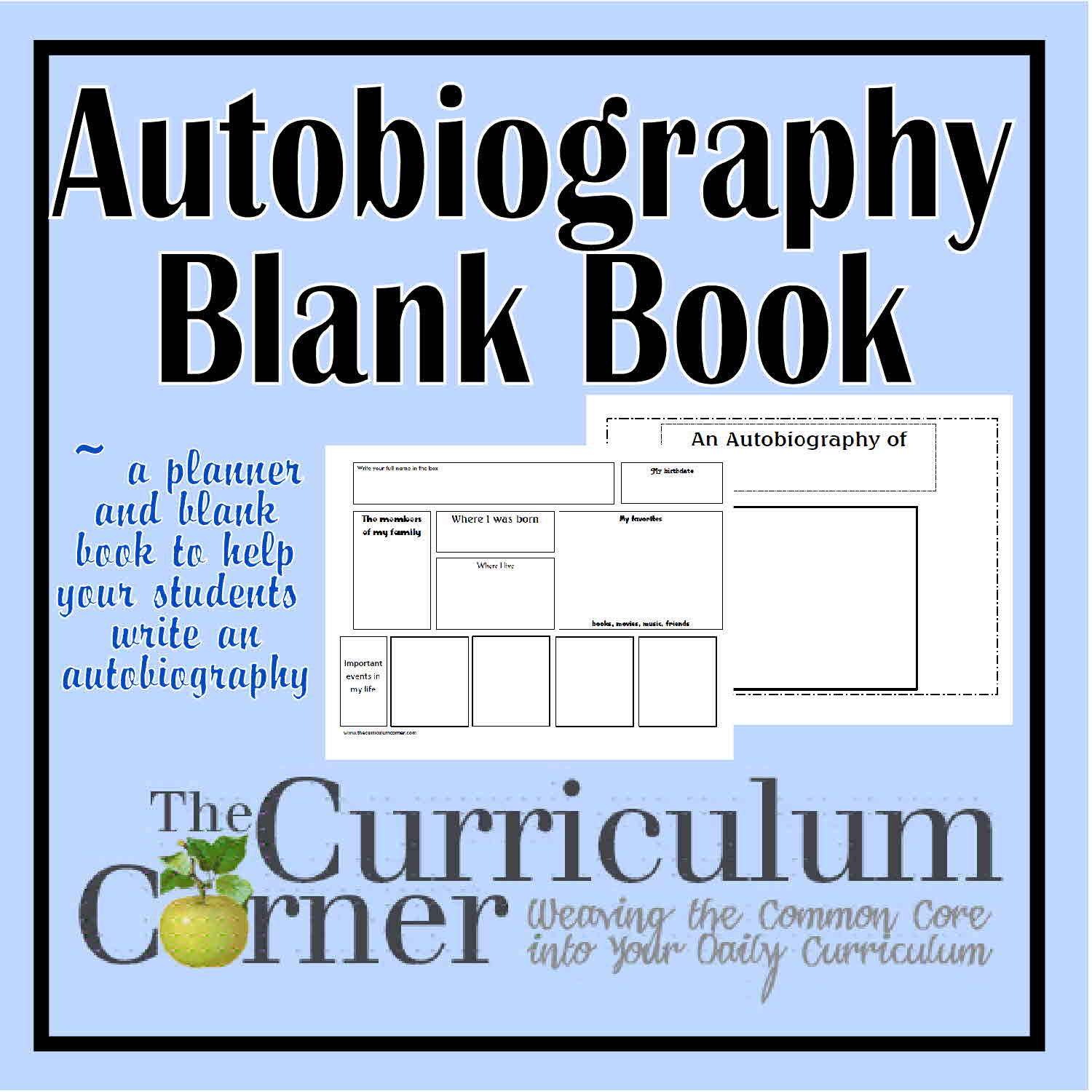Autobiography blank booklet amp planner the curriculum corner 123