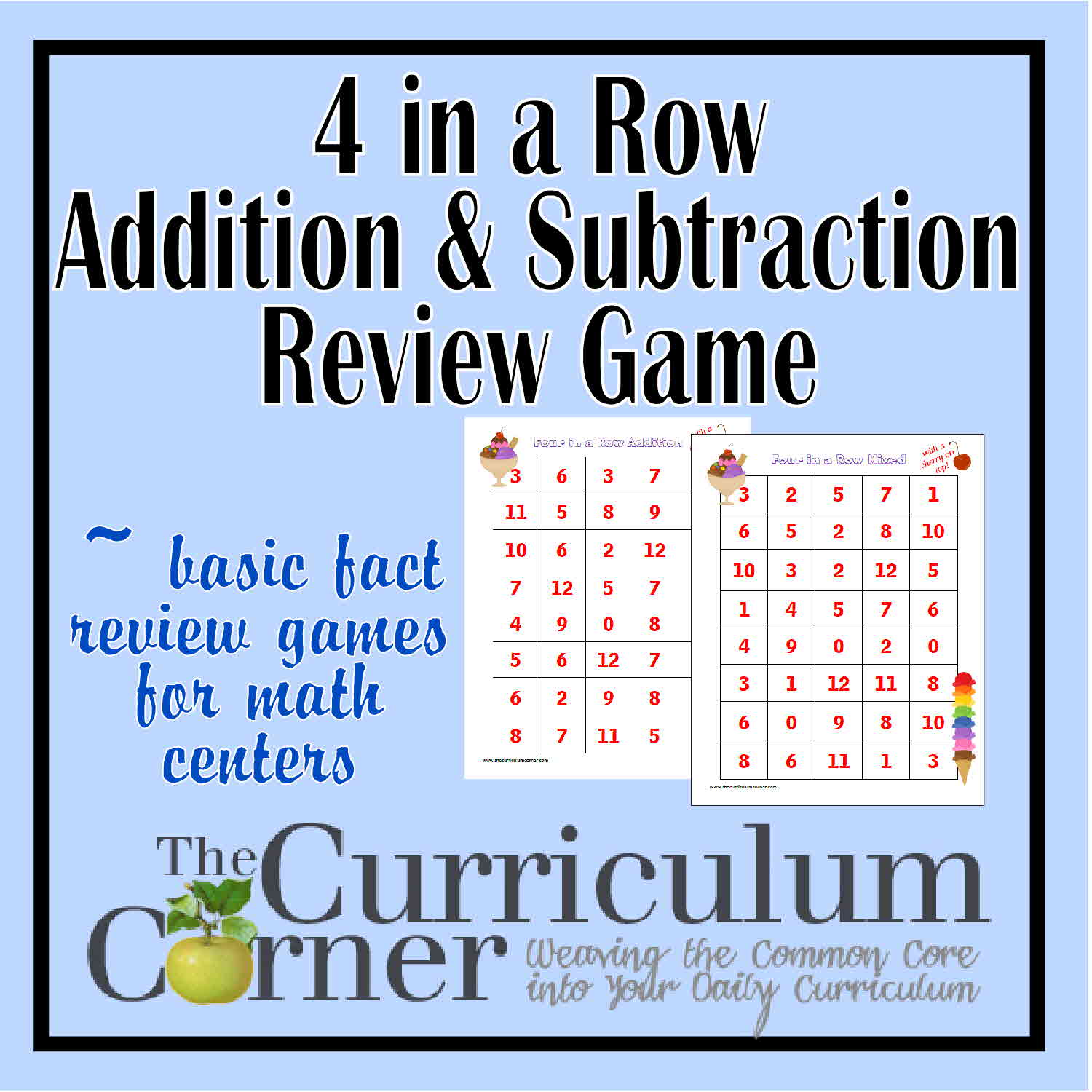 graphic about Math Fact Fluency Games Printable titled 4 inside of a Row Addition and Subtraction Examine Activity