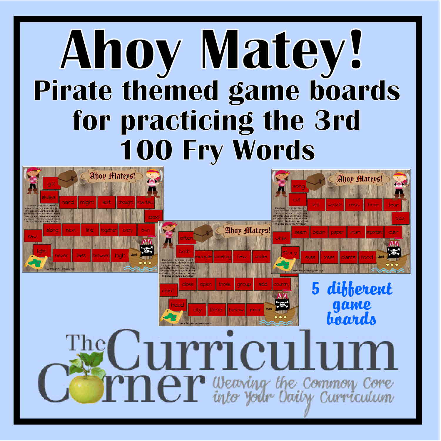 Ahoy Mateys Fry Word Games for the 3rd Fry List
