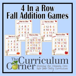 4 In a Row Addition Games for Fall FREE